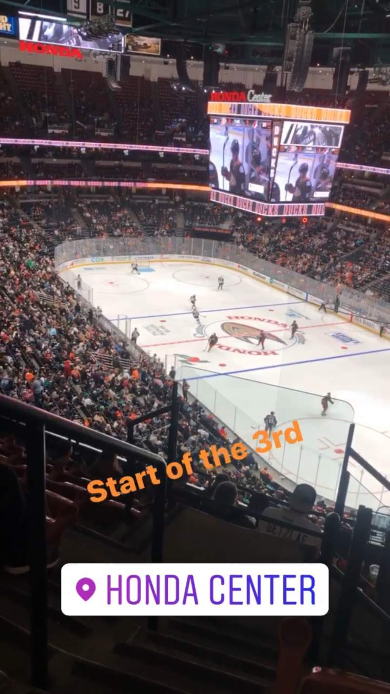 Seating view for Honda Center Section 405 Row H Seat 12