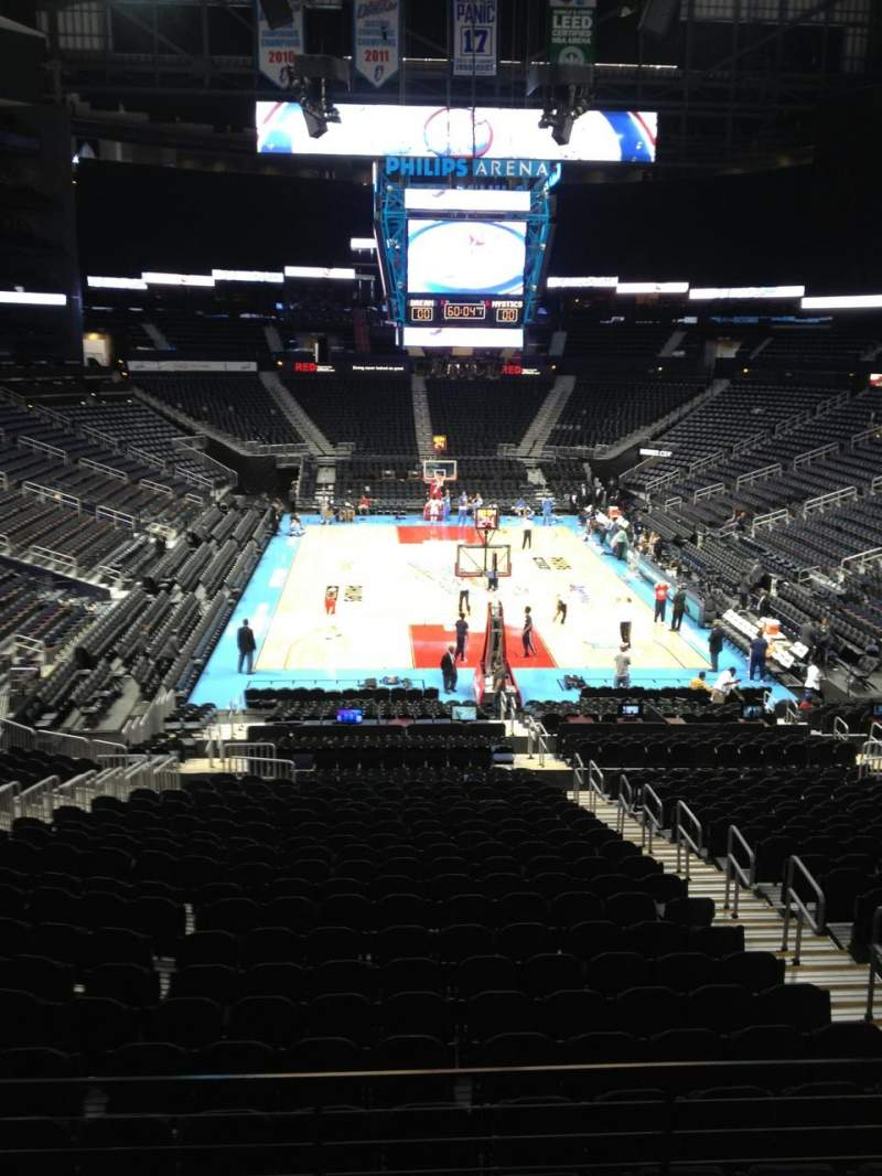 Seating view for Philips arena Section 219 Row A Seat 16