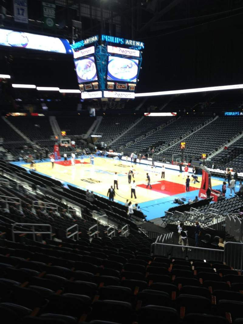 Seating view for Philips arena Section 101 Row X Seat 2
