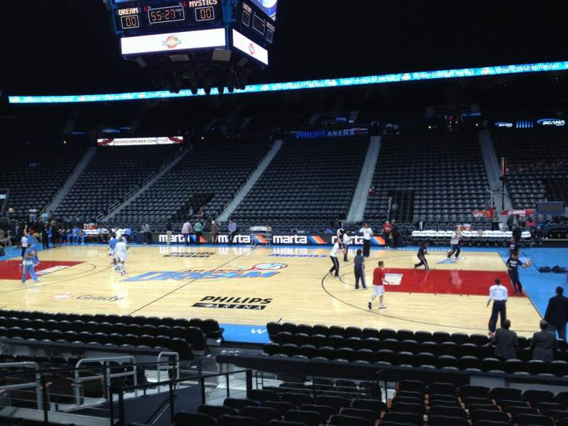 Seating view for Philips arena Section 103 Row P Seat 8