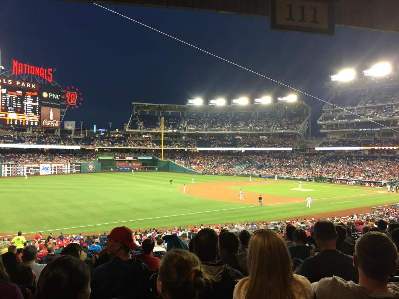 Seating view for Nationals Park Section 111 Row TY Seat 14