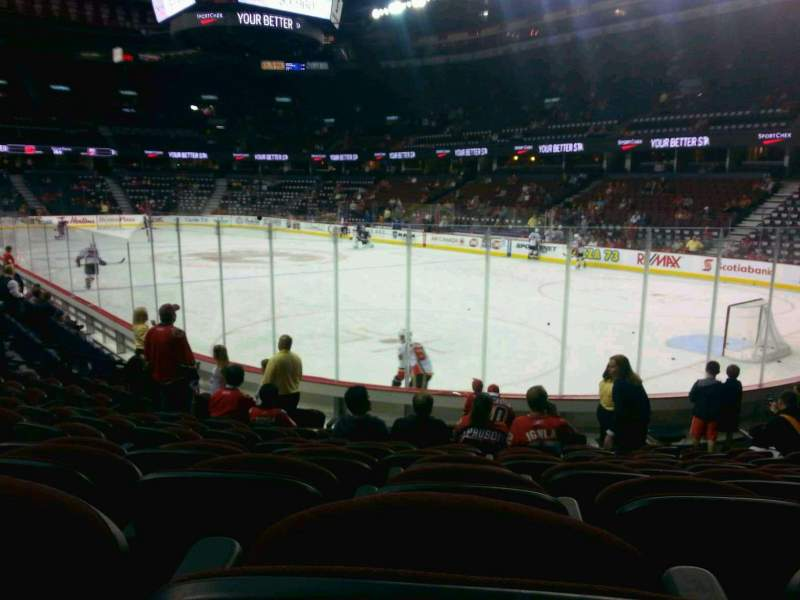 Seating view for Scotiabank Saddledome Section 102 Row 11 Seat 11