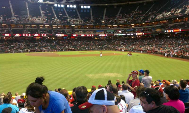 Seating view for Chase Field Section 142 Row 27 Seat 10