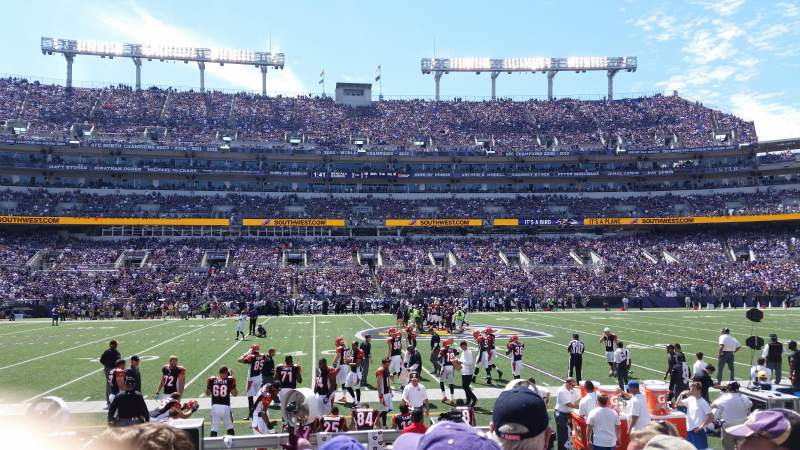 Seating view for M&T Bank Stadium Section 100 Row 6 Seat 18