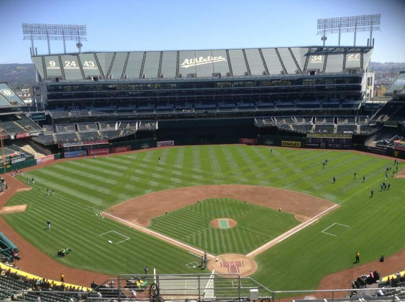 Seating view for Oakland Alameda Coliseum Section 318 Row 13 Seat 1