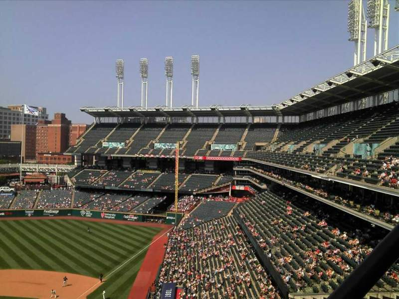 Seating view for Progressive Field Section 554 Row r Seat 7