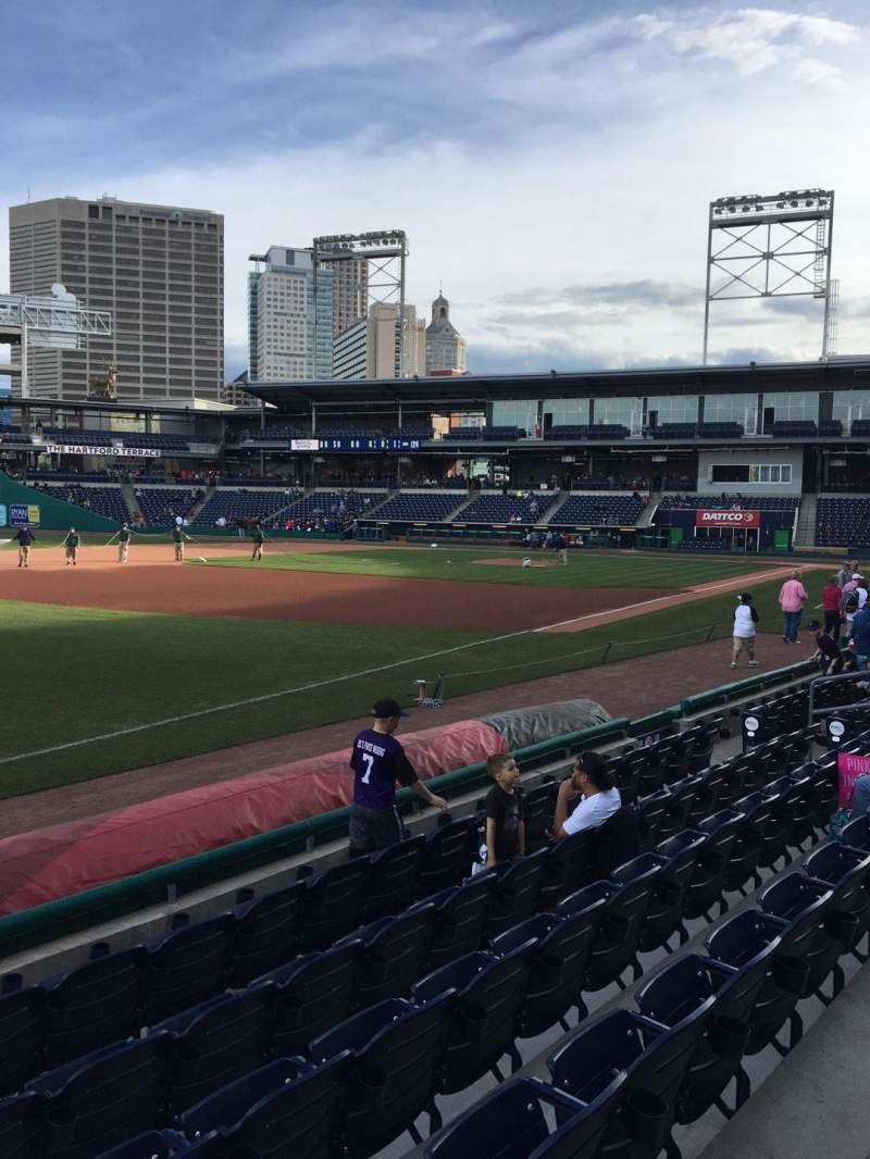 Seating view for Dunkin' Donuts Park Section 120 Row F Seat 1