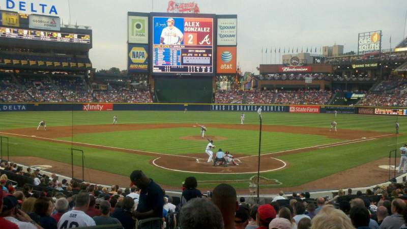 Seating view for Turner Field Section 104 Row 20 Seat 1