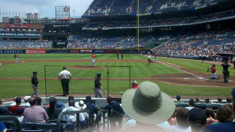 Seating view for Turner Field Section 108 Row 11 Seat 1