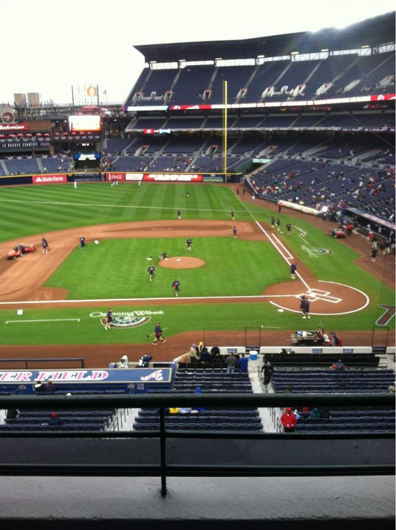 Seating view for Turner Field Section 310 Row 2 Seat 105