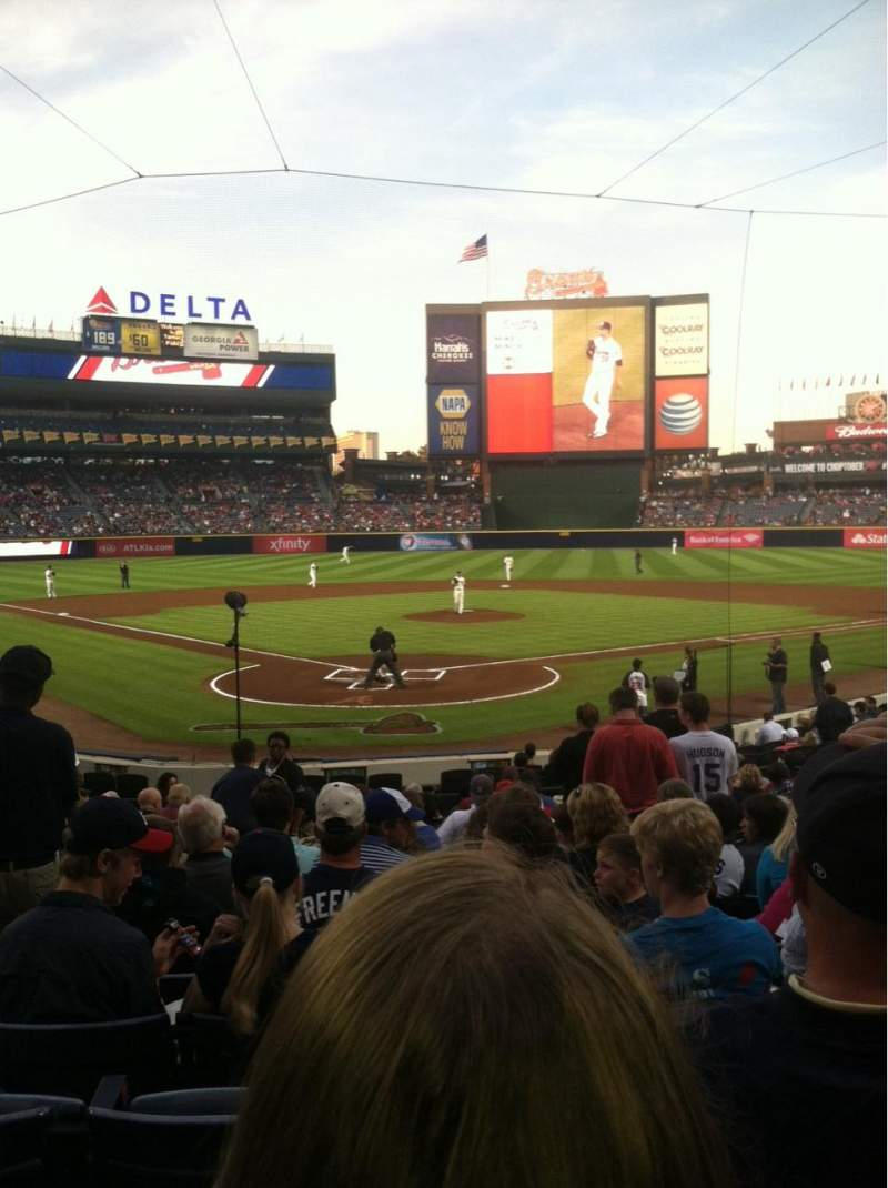 Seating view for Turner Field Section 101 Row 19 Seat 3