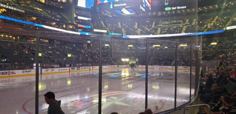 Seating view for Nationwide Arena Section 107 Row F Seat 8