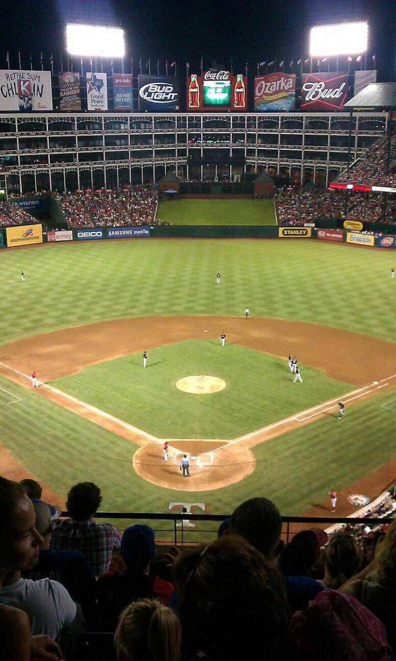 Seating view for Globe Life Park in Arlington Section 326 Row 6 Seat 11-14