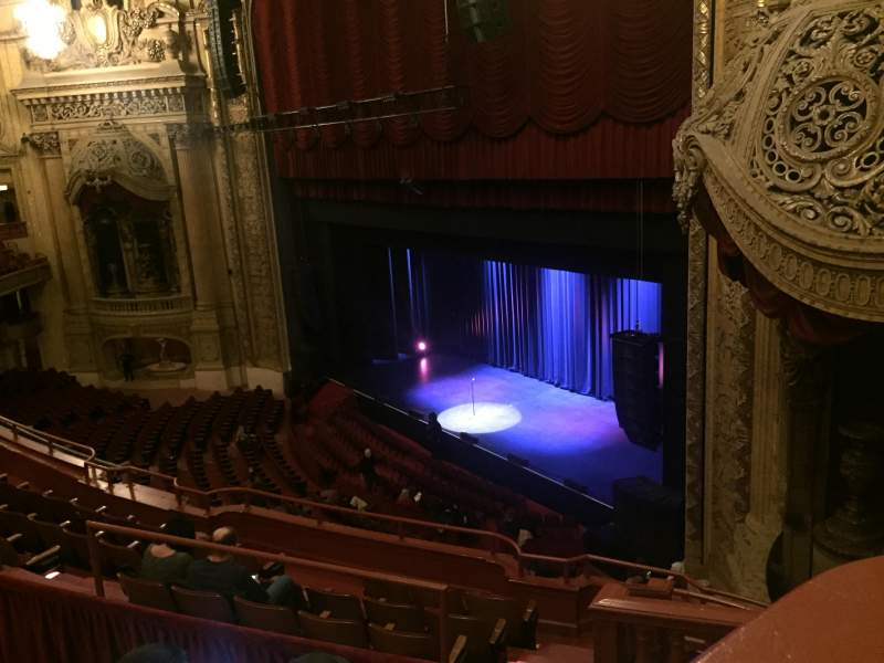 Seating view for Chicago Theatre Section Balcony Box 11 Row A Seat 20