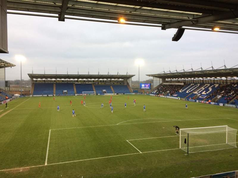 Seating view for Colchester Community Stadium Section S4 Row T Seat 112