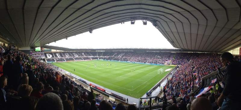 Seating view for Pride Park Section H Row R Seat 857