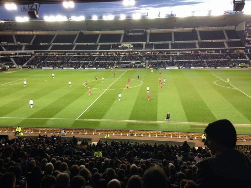 Seating view for Pride Park Section F Row V Seat 360