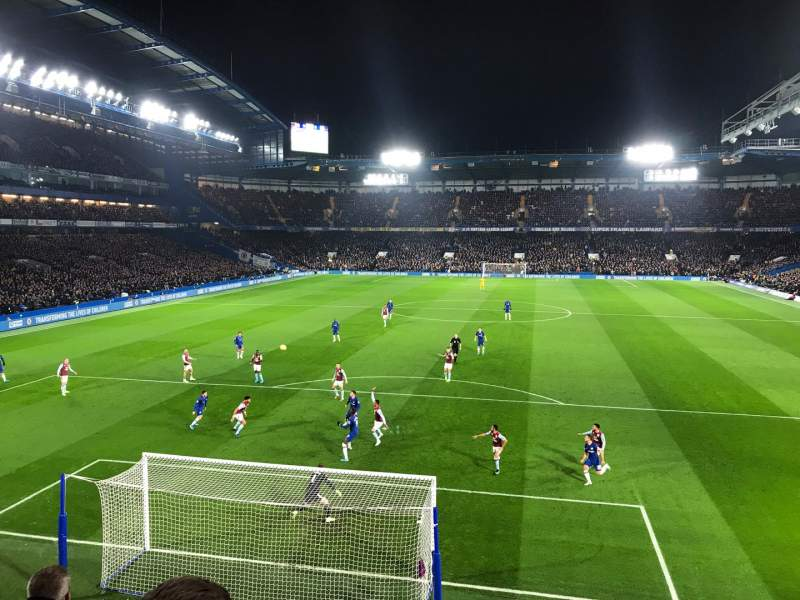 Seating view for Stamford Bridge Section Shed End Upper 3 Row 4 Seat 130