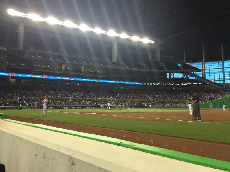 Seating view for Marlins Park Section FL2 Row AA Seat 10