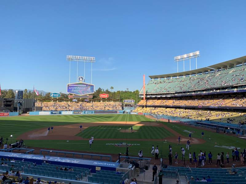 Seating view for Dodger Stadium Section Loge Box MVP 125 Row A Seat 3