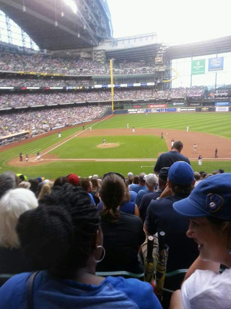 Seating view for Miller park Section 213 Row 13 Seat 7