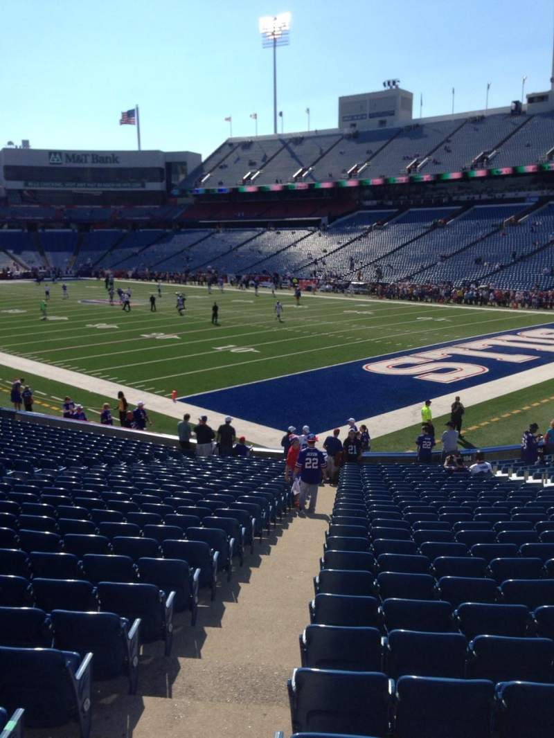 Seating view for New Era Field Section 104 Row 17 Seat 19