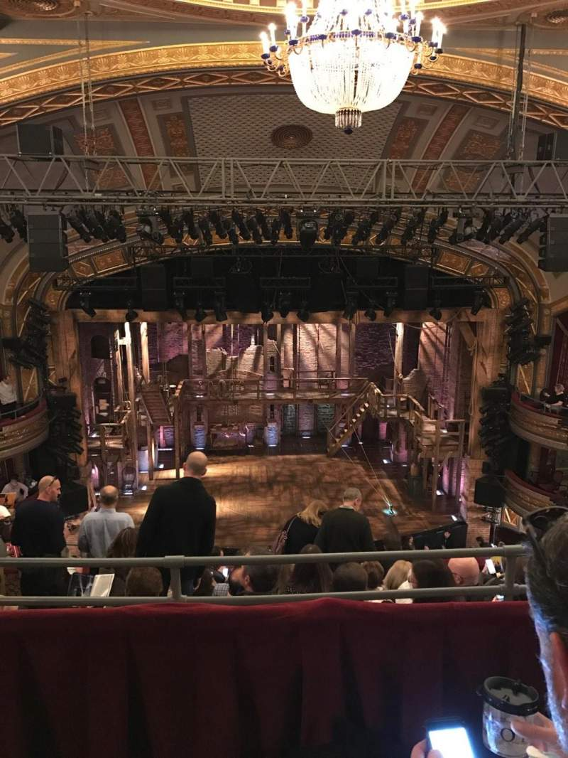 Seating view for Richard Rodgers Theatre Section Rear Mezz Center Row B Seat 109