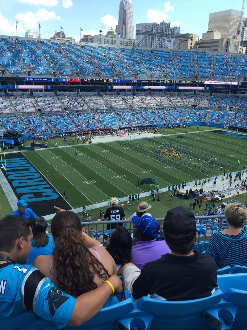 Seating view for Bank Of America Stadium Section 547 Row 4 Seat 14