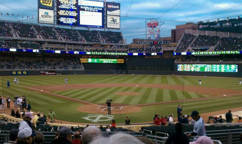 Seating view for Target Field Section 113 Row 10 Seat 4
