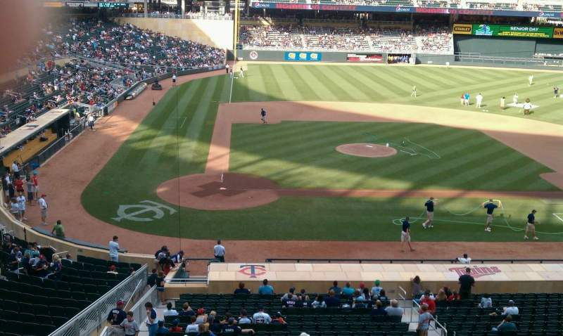 Seating view for Target Field Section D Row 1 Seat 20