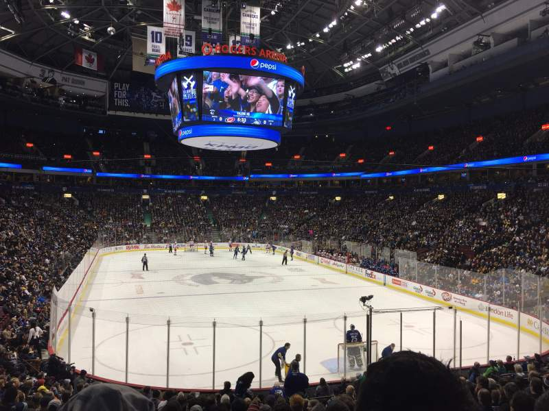 Seating view for Rogers Arena Section 101 Row 19 Seat 8
