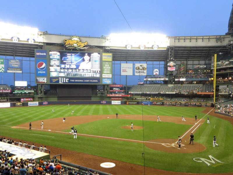 Seating view for Miller Park Section 221 Row 1 Seat 1