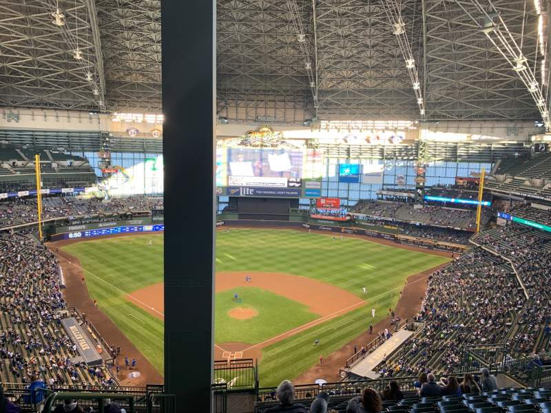 Seating view for Miller Park Section 421 Row 20 Seat 1