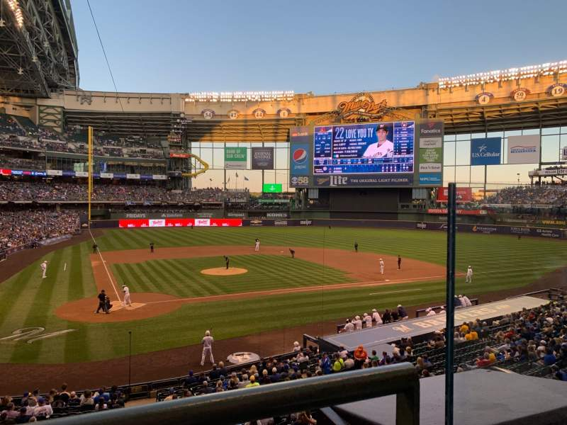 Seating view for Miller Park Section 216 Row 1 Seat 11