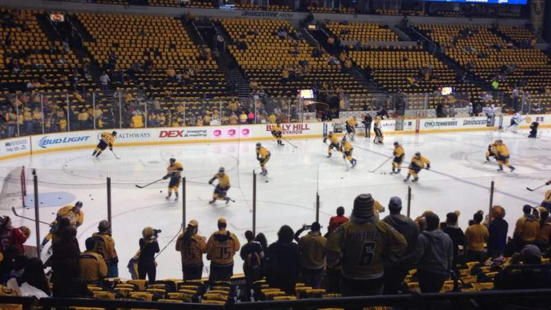 Seating view for Bridgestone Arena Section 103 Row D Seat 5