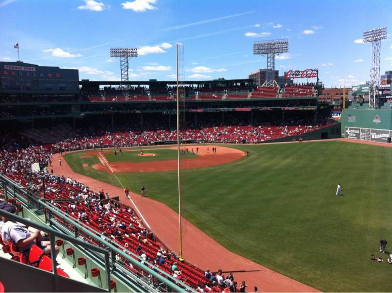 Seating view for Fenway Park Section Right Field Roof Deck Box 41 Row C Seat 1