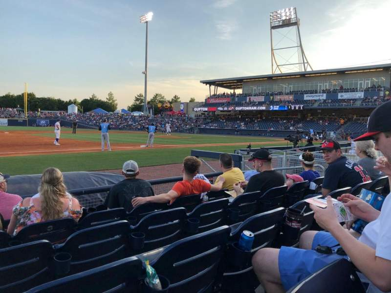 Seating view for First Tennessee Park Section 107 Row F Seat 9
