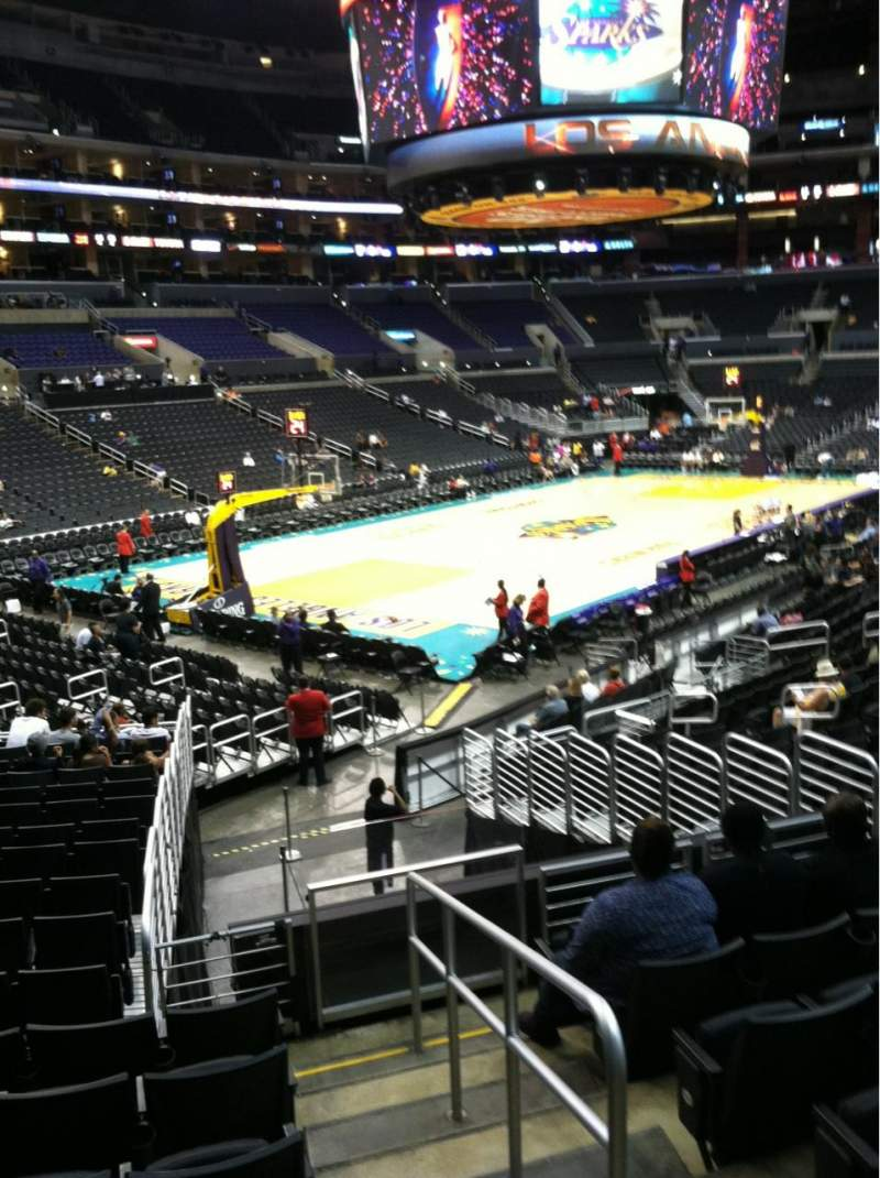 Seating view for Staples Center Section 105 Row 20 Seat 1