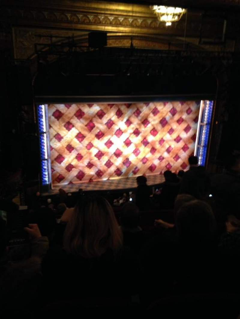 Seating view for Brooks Atkinson Theatre Section Rear Mezzanine LC Row H Seat 128