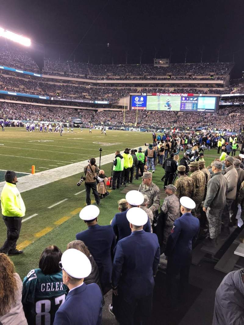 Seating view for Lincoln Financial Field Section 134 Row 1 Seat 13