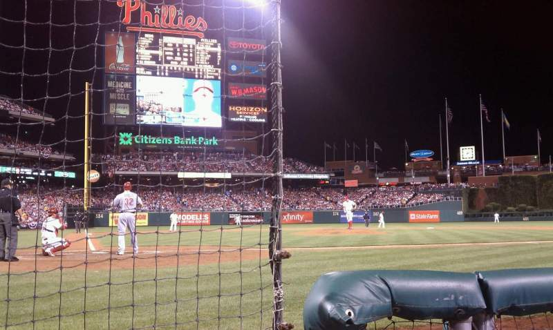 Seating view for Citizens Bank Park Section F Row 1a Seat 12