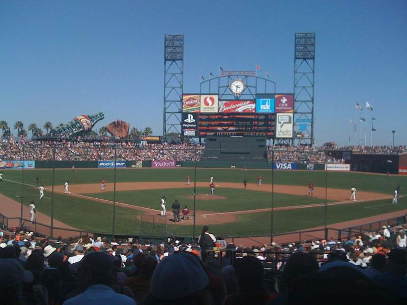 Seating view for AT&T Park Section 115 Row 29 Seat 1