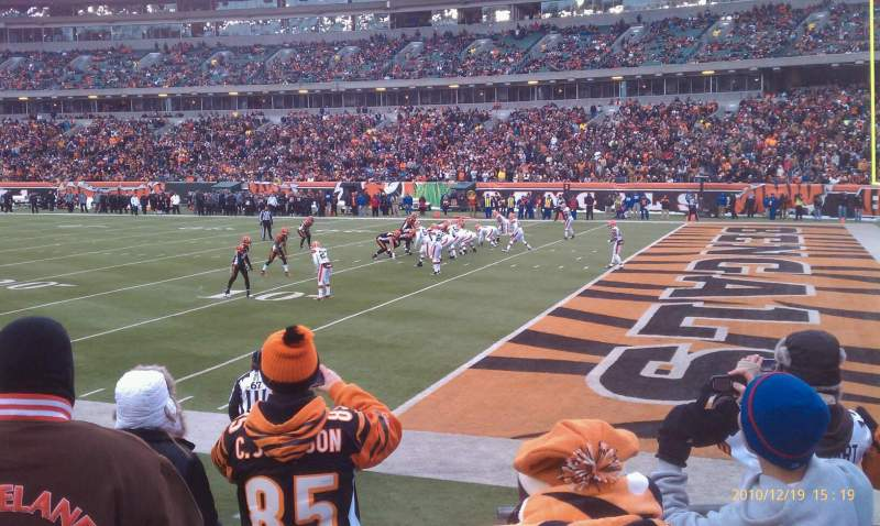 Seating view for Paul Brown Stadium Section 134 Row 5 Seat 1
