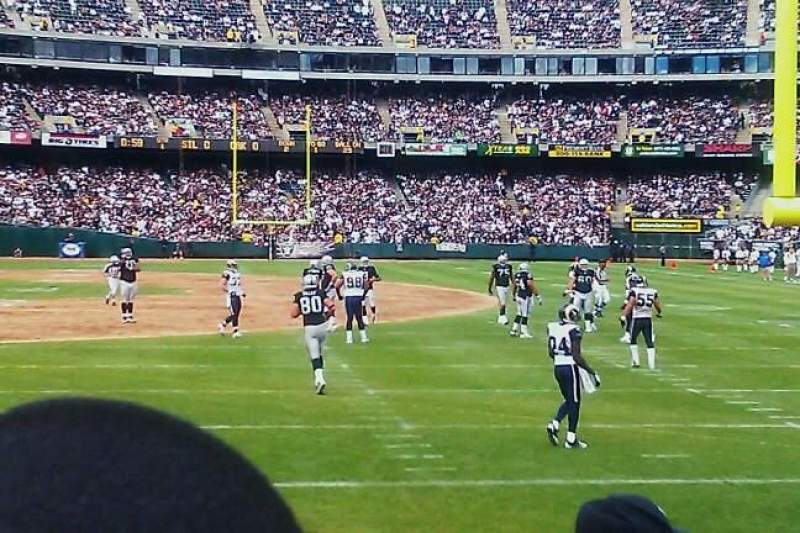 Seating view for Oakland Alameda Coliseum Section 107 Row 5 Seat 10