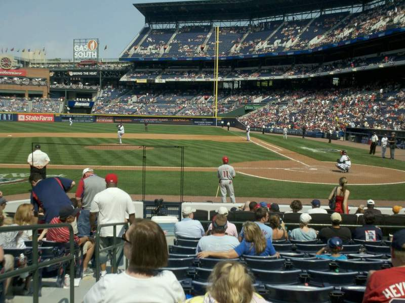 Seating view for Turner Field Section 108 Row 11 Seat 2