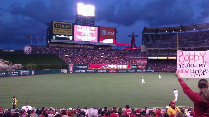 Seating view for Angel Stadium Section F106 Row W Seat 11