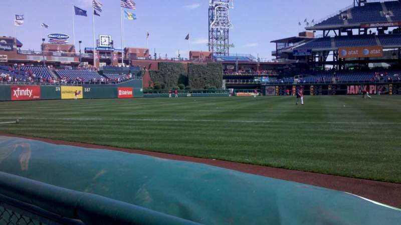 Seating view for Citizens Bank Park Section 135 Row 1 Seat 1