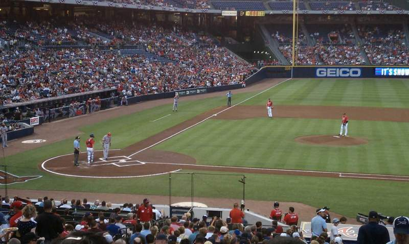 Seating view for Turner Field Section 207 Row 1 Seat 9