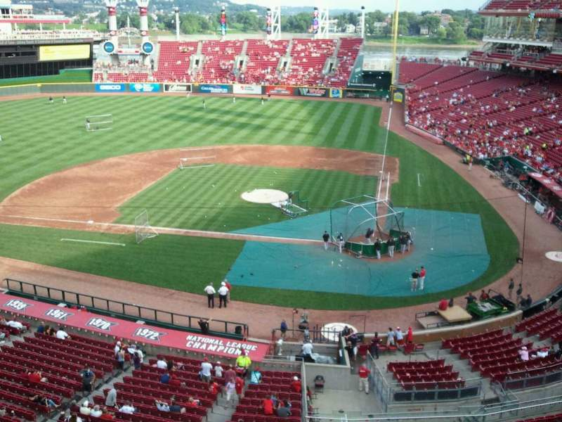 Seating view for Great American Ball Park Section Frontgate suite