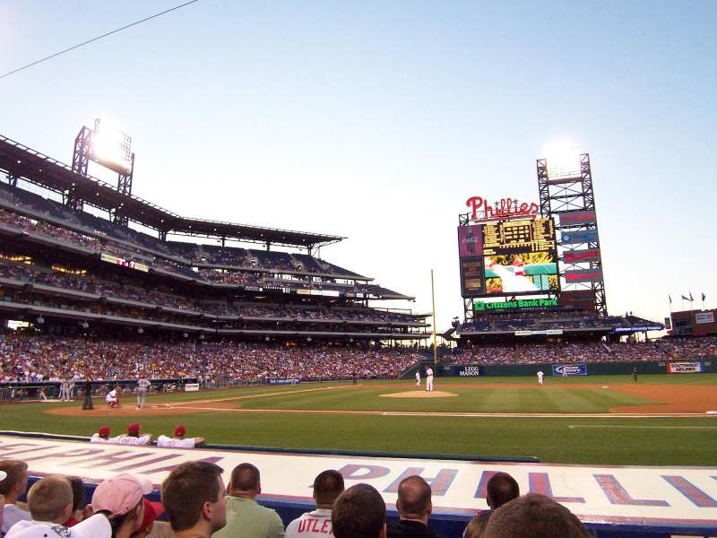 Seating view for Citizens Bank Park Section 116 Row 4 Seat 1